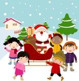 Children and santa. Cute children and santa  -illustration art Stock Images