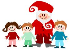 Children with santa claus Royalty Free Stock Photo