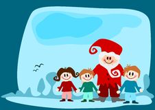 Children with santa claus Stock Images