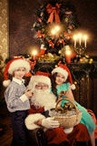 Children and Santa stock image