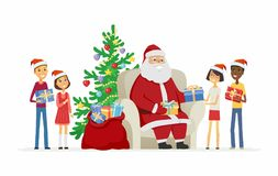 Children and Santa Claus - cartoon characters isolated illustration. On white background. International boys, girls getting presents from Father Frost. Nice Stock Images