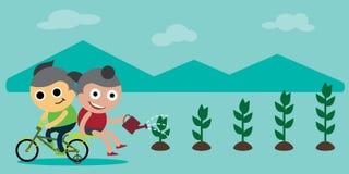 Children Saving the Environment by Planting Trees. Illustration royalty free illustration