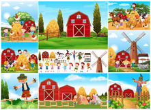 Children and scarecrow in farmyard Royalty Free Stock Photo