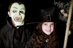 Children in scary Hallowe'en costumes stock image