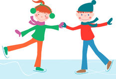 Children on the scates. Vector image of the cheerful kids skating Royalty Free Stock Image