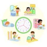 Children schedule banner vector illustration. Daily routine. Set of kids activities, child waking up, sleeping, brushing. Children schedule banner vector vector illustration