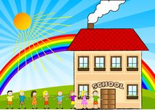Children and school. Children are going to the school Royalty Free Stock Images