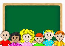 Children in school. In front of a blackboard vector illustration