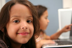 Children At School. Children on computers at school Royalty Free Stock Images