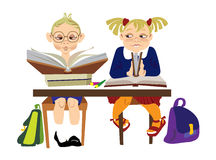 Children school. Children reading books in classroom Royalty Free Stock Photography