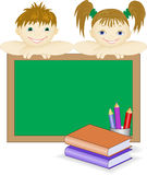 Children from the school board, and books Stock Images