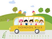 Children and school bus. Illustration of children and school bus Stock Photos