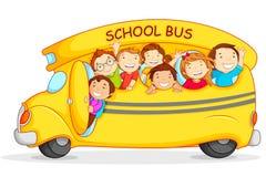 Children in School Bus. Editable vector illustration of happy children on school bus Royalty Free Stock Image