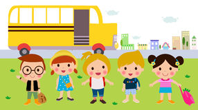 Children and school bus Royalty Free Stock Images