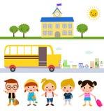 Children and school bus. Illustration of children and school bus Stock Photos
