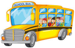 Children and school bus. Illustration of many children on a school bus Royalty Free Stock Photos