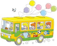 Children in a school bus Royalty Free Stock Photography