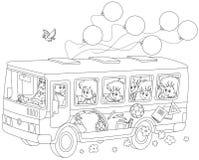 Children in a school bus Stock Photo