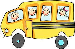 CHILDREN ON SCHOOL BUS Stock Photos