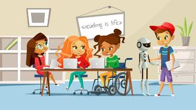 Children in school classroom vector illustration of boys and girls studying at table with handicapped girl in wheelchair vector illustration