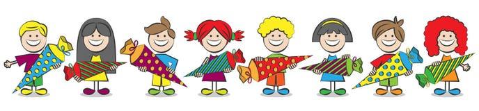 Children with school cones vector