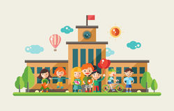 Children and the school - flat design characters website banner Stock Photo