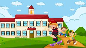 Children at school ground. Illustration royalty free illustration