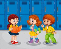 Children at the school hallway. Illustration stock illustration