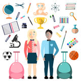 Children and School Icons. Royalty Free Stock Photo