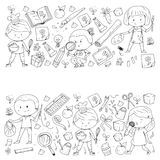 Children. School and kindergarten. Creativity and education. Music. Exploration. Science. Imagination. Play and study. Children School and kindergarten Stock Photo