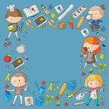 Children. School and kindergarten. Creativity and education. Music. Exploration. Science. Imagination. Play and study. Children School and kindergarten Stock Image