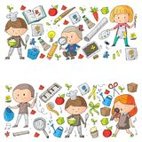 Children. School and kindergarten. Creativity and education. Music. Exploration. Science. Imagination. Play and study. Children School and kindergarten Royalty Free Stock Images