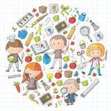 Children. School and kindergarten. Creativity and education. Music. Exploration. Science. Imagination. Play and study. Children School and kindergarten Royalty Free Stock Photo