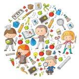Children. School and kindergarten. Creativity and education. Music. Exploration. Science. Imagination. Play and study. Children School and kindergarten Stock Image