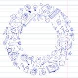 Children. School and kindergarten. Creativity and education. Music. Exploration. Science. Imagination. Play and study. Children School and kindergarten Stock Photos