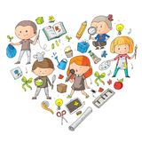 Children. School and kindergarten. Creativity and education. Music. Exploration. Science. Imagination. Play and study. Children School and kindergarten Royalty Free Stock Image