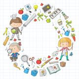 Children. School and kindergarten. Creativity and education. Music. Exploration. Science. Imagination. Play and study. Children School and kindergarten Royalty Free Stock Photography
