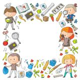 Children. School and kindergarten. Creativity and education. Music. Exploration. Science. Imagination. Play and study. Children School and kindergarten Stock Photos