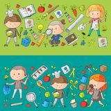 Children. School and kindergarten. Creativity and education. Music. Exploration. Science. Imagination. Play and study. Children School and kindergarten Stock Images