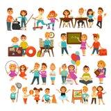 Children in school or kindergarten outdoor activity vector flat icons set Stock Photos