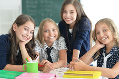 Children at school in lessons. Children at school sit in the classroom royalty free stock photos