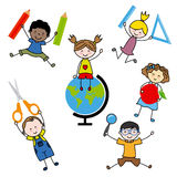 Children with school objects Stock Image