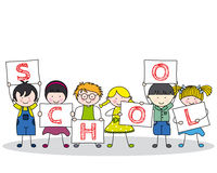Children with school posters Stock Photo