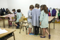 Children at school standing stock photos