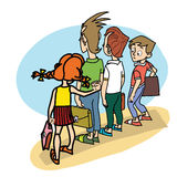Children at school threat Stock Photos