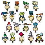 Children with school tools. Set of happy doodle kids go back to school Stock Photography