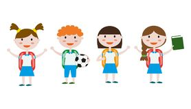 Children in school uniform. Back to school background. Vector illustration Stock Photography
