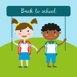 Children in school uniform. Back to school background. Vector illustration Royalty Free Stock Images