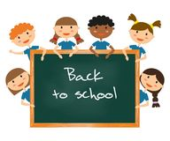 Children in school uniform. Back to school background. Vector illustration Royalty Free Stock Photography
