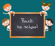Children in school uniform. Back to school background. Vector illustration Royalty Free Stock Photo